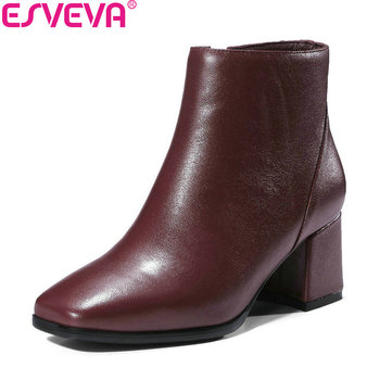 ESVEVA 2019 Women Boots Square Toe Zipper Shoes Square High Heels Ankle Boots Cow Leather Solid Autumn Fashion Boots Size 34-39