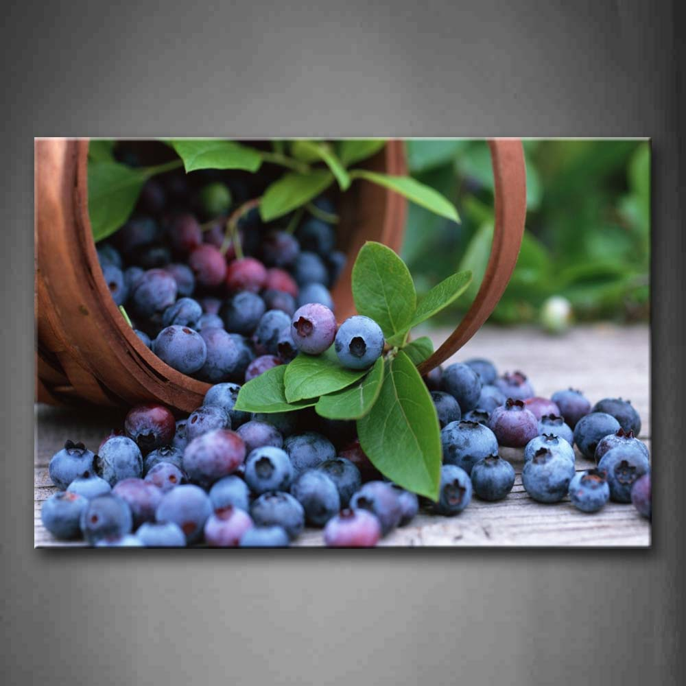 Framed Wall Art Pictures Blueberry Basket Canvas Print Food Modern Posters With Wooden Frames For Home Living Room Decor