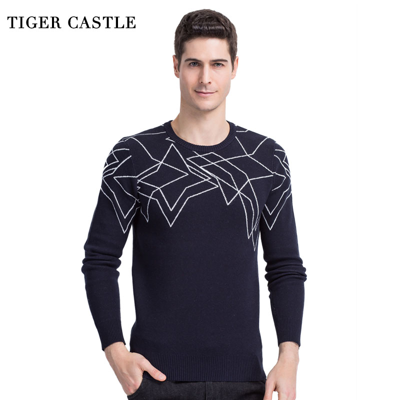 TIGER CASTLE Fashion Print Mens Pullover Sweaters Long Sleeve Quality Knitted Men Clothing Slim Fit Male Brand Knitwear