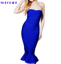 SORCHIDF 2016 new fashion ladies 5 color blue red black beige  strapless fishtail evening party bandage dress