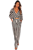 New Women Summer Casual Striped Sweetheart Set Crop Top and Pants Set 2 Piece Sets With Pockets