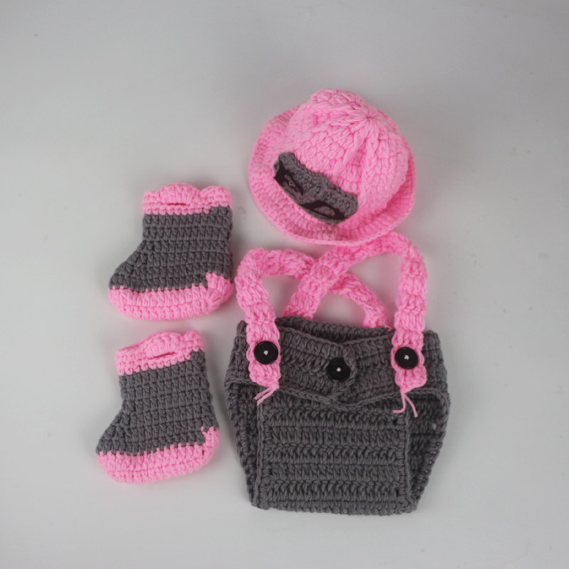 Baby Firefighter Newborn Photography Props Infant Knit Crochet
