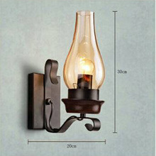 110V ~ 220V Dark Wood Color Vintage Wall Lamp American Country Bar Cafe Wall Lamp Living Room Dining Room Kitchen Bedroomlamps