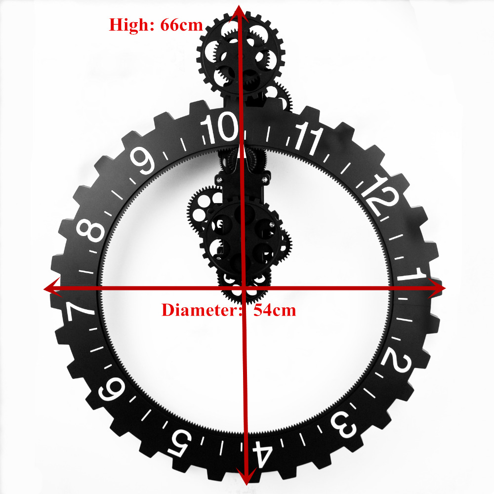 Black/Silver Color Wall Clock Retro Modern Mechanical Large Art Gear Quartz Wall Clock Antique Vintage Home Office Decor