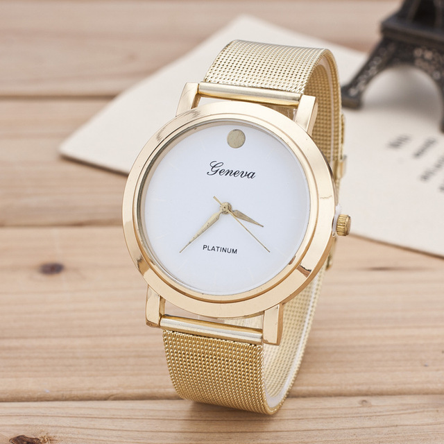2018 Luxury Brand Geneva Gold Stainless steel bracelet watch women Ladies casual