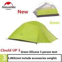 DHL Бесплатная доставка NatureHike фабричная продажа палатка 1,8 кг 3 человека 20D силиконовая ткань двухслойные палатки открытый тент