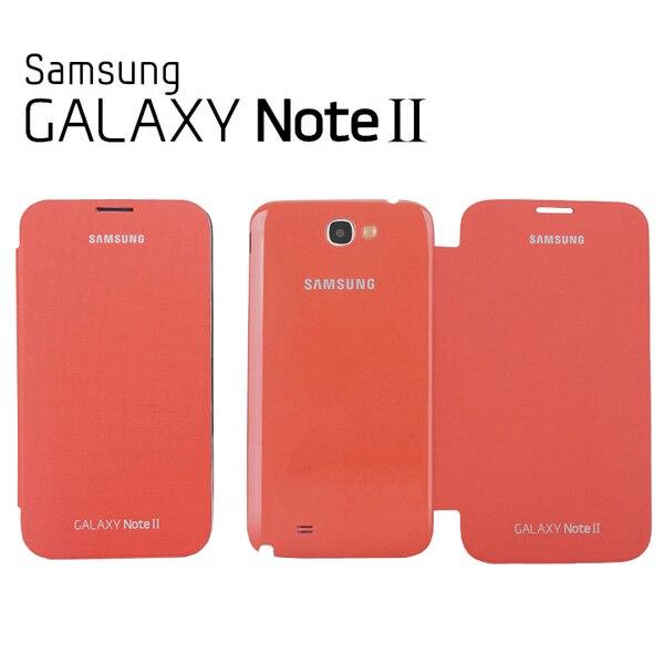 OEM Samsung Galaxy Note 2 N7100 Flip Cover Case + Screen Protectro : Orange