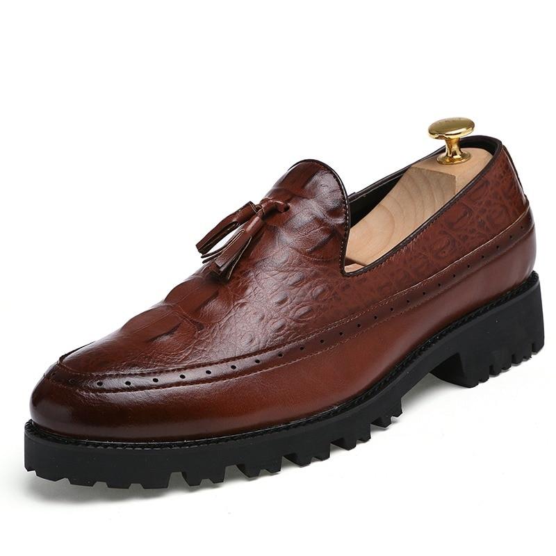 Men Shoes Leather Formal Oxfords Cool Designer Camouflage Ballroom Party Evening Male Snake Skin Dress Footwear Italian Footwear High Safety Men's Shoes Formal Shoes
