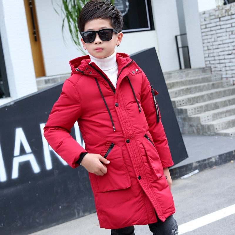 2017 New Long Hooded Boys Winter Jacket Coat White Duck Down Winter Clothes Boys Coat Warm Jacket Manteau Garcon 11 12 13 14 15 russia winter boys girls down jacket boy girl warm thick duck down