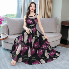 2019 Summer New Arrival High Quality Plus Size S-4XL Bohemian Round Collar Flower Printed Sleeveless Woman Long Chiffon Dress