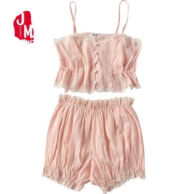 New Sexy Lace Cami With Shorts   Pajama     Set   Women Pink White Spaghetti Strap Sleeveless Nightwear Drawstring Waist Cute Sleepwear