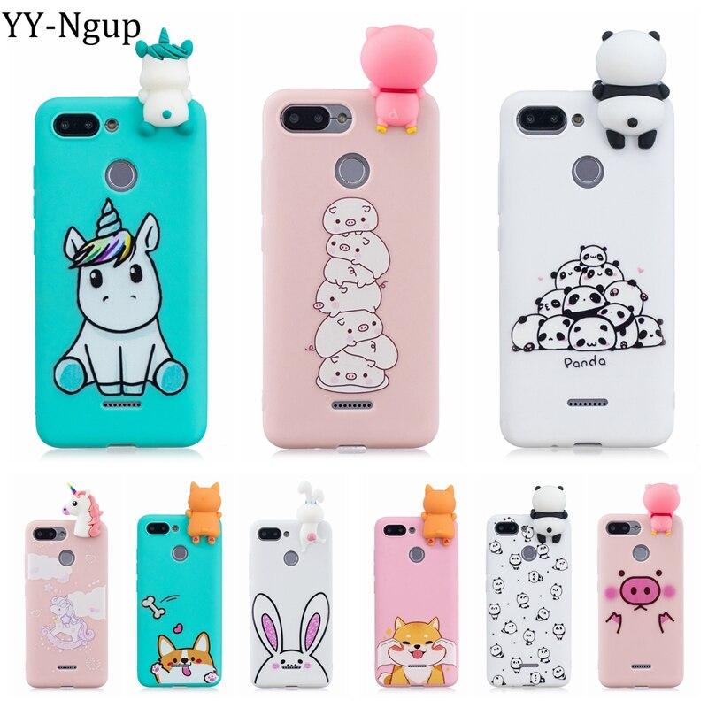 Xiaomi Redmi 6A Case For Xiaomi Redmi 6 Cover 3D Cute Panda Unicorn Pig Silicone Phone Case On Funda Xiaomi Redmi 6A Redmi6 Case