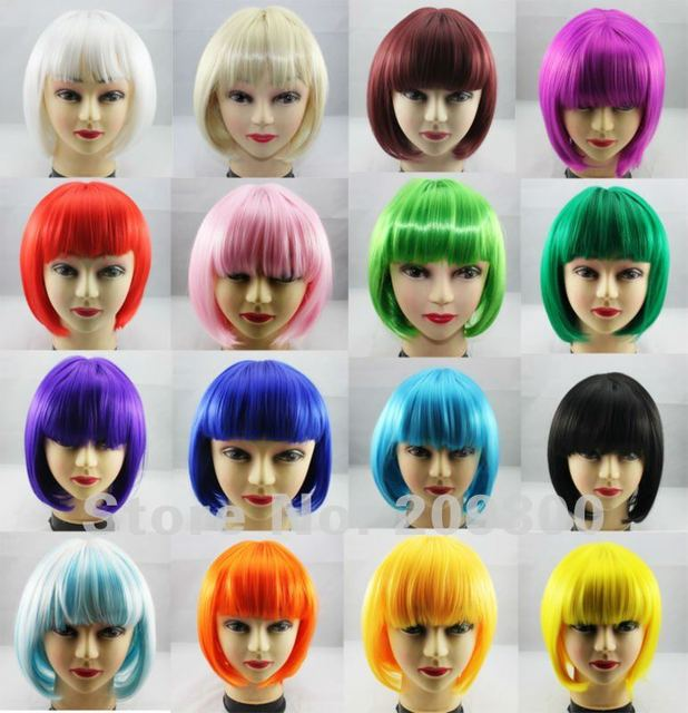 FREE SHIPPING 2pcs BOB/ Student cosplay/ party wig high -temperature synthetic hair wigs #multi-colors  BOB/Student wigs