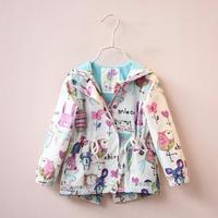 Autumn Coat Baby Girl Clothes Coat Print Cartoon Graffiti Hooded Zipper Girl Jacket Toddler Girls Fall Clothes Kids Outerwea