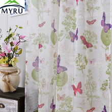 MYRU Romantic Pastoral Style Butterfly Printed Tulle Curtain Cotton and Linen Living Room Balcony Tulle Voile Curtain