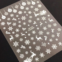 Newest CB-072 snowflake deer design 3d nail manicure back adhesive sticker for decoration tools