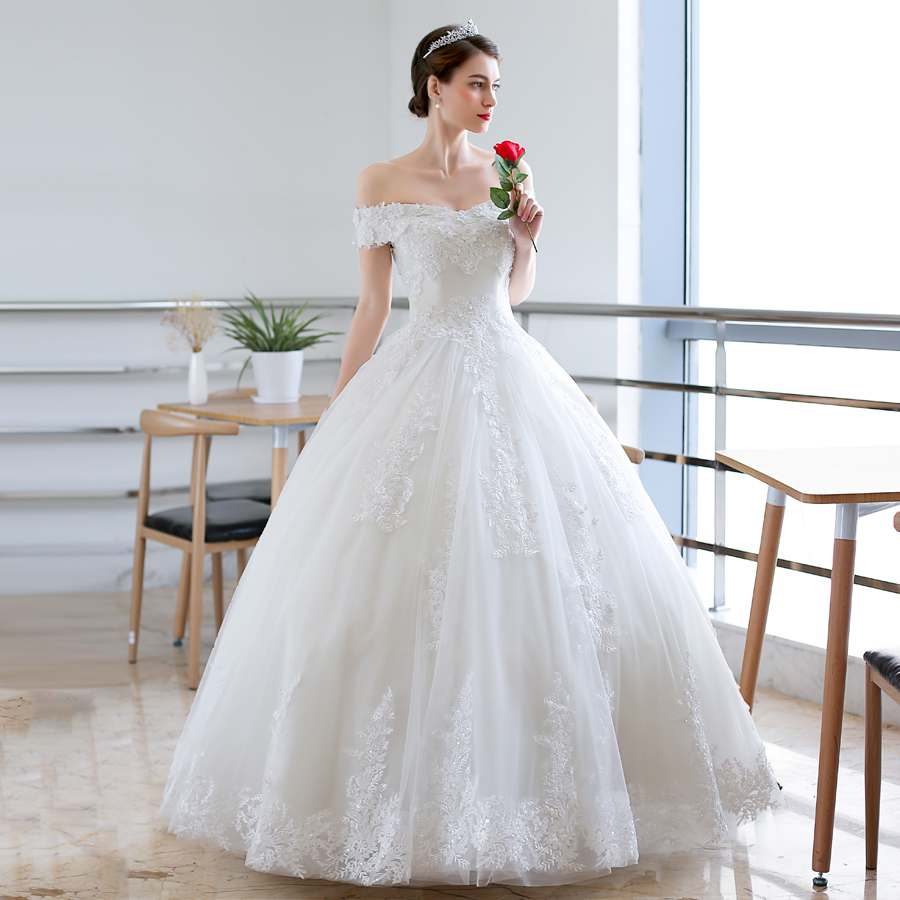 Luxury Full Lace Embroidery Appliques Wedding Dress Cap Sleeves Boat Neck Ball Gown 2018 Wedding Dresses New-in Wedding Dresses from Weddings & Events    2
