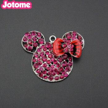 rhinestone charm mouse  Pendant making Necklace Jewelry