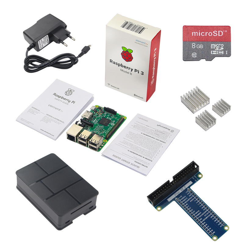 Original Raspberry Pi 3 Model B + 2.5A Power Adapter+ 8GB SD Card + ABS Case +GPIO Expansion Board+ Aluminum Heat Sink for RPI 3