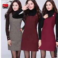 Женское платье высокого качества, модное большое, с несколькими карманами, Осень-зима, приталенное, без рукавов, шерстяное платье-жилет для женщин 01