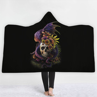 Hooded Blanket Halloween 3D Digital Printing Microfiber for Kids Adult Girls Skull Sherpa Fleece Wearable Black Blanket 150x200
