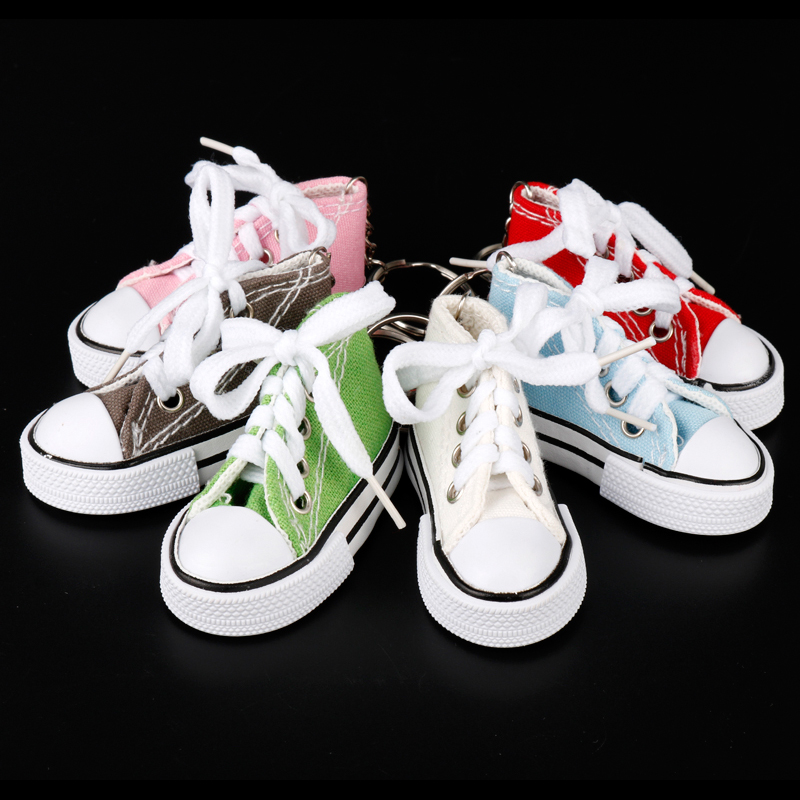 17b7cd8c412c67 MQCHUN Mini Canvas Shoes Keychain Bag Charm Woman Men Kids Key Ring Key  Holder Gift Sports Sneaker Key Chain Funny Gifts-in Key Chains from Jewelry  ...