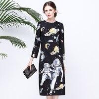 Boutique Inspiriert Mode Vintage Print Kleid langhülse 2017 Herbst Schritt Roboter Kleid
