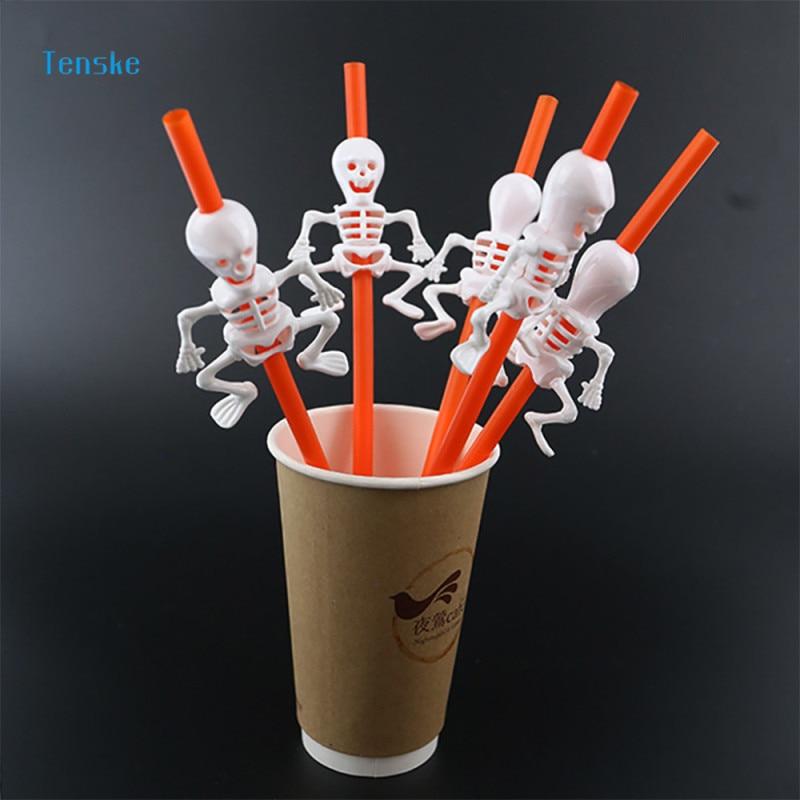 TENSKE 5Pcs Pumpkin Skeleton Drinking Straws Kids Birthday/Wedding/Pool Party Halloween Party Fun Decoration Supplies