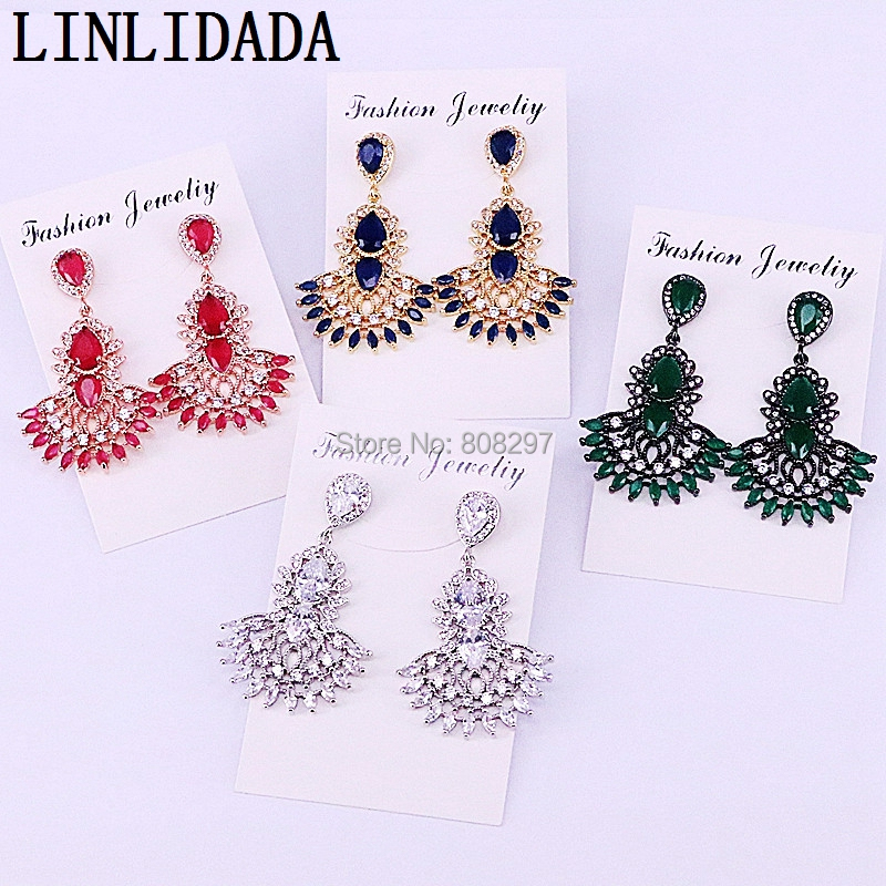 4Pairs Mix Color CZ Micro Pave Cubic Zirconia Crystal Dangle Earrings Fashion Women Earrings for Handmade Jewelry