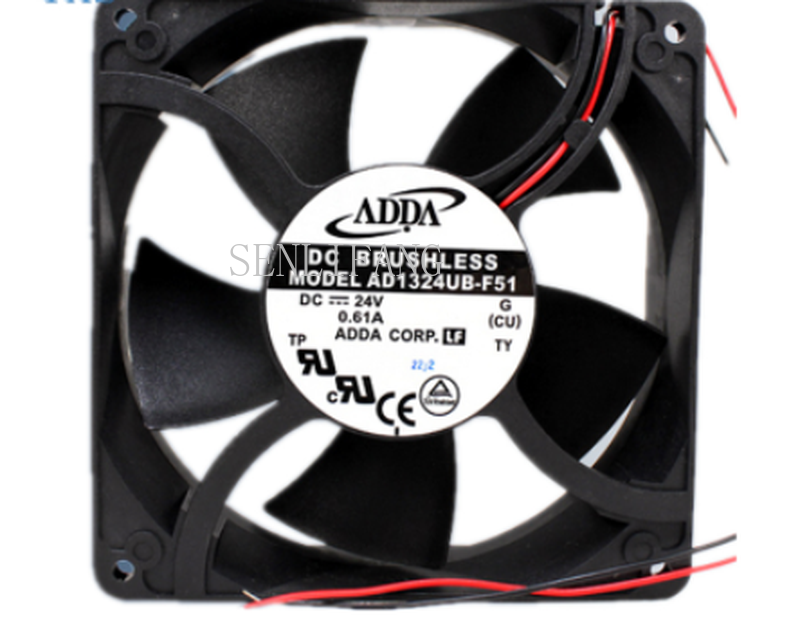 Free Shipping AD1324UB-F51 DC 24V 0.61A 14.64W 3500RPM 2 Wires 12738 12cm 127*127*38mm Ball Bearing Cooling Fan