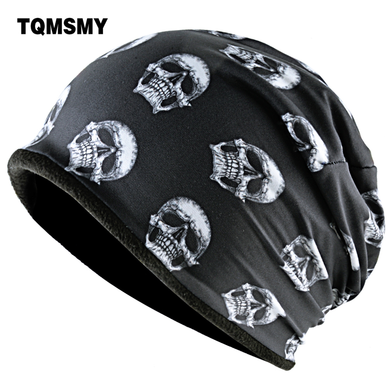 TQMSMY Fashion Skull Pattern Hats For Men Winter Warm Skullies Beanies Women Thick Ski Caps Unisex Hip Hop Punk Cool Bone Gorro