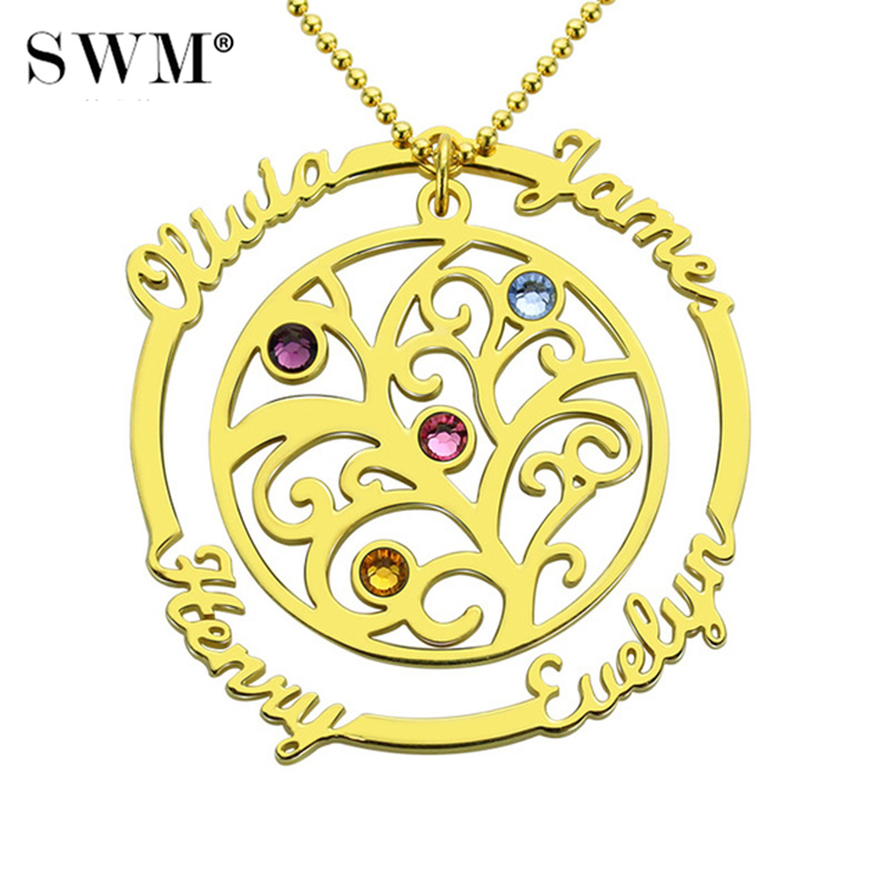 Family Tree of Life Necklace Custom Name Birthstones Pendants Gold Chain Vintage Necklaces Jewelery Gift for