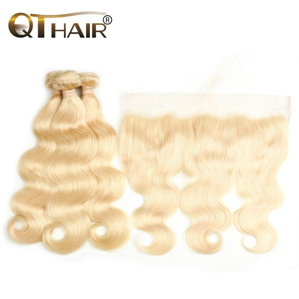 Кварты Малайзия волос 613 Блондин тела переплетения человеческих волос Связки с закрытием 3/4 Связки Волосы remy и 1 шт. кружева фронтальной заст...