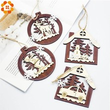 1PC Wooden House Shape Christmas Snowman&Deer Pendants Hanging Xmas Tree Ornaments DIY Wood Crafts Party Decoration