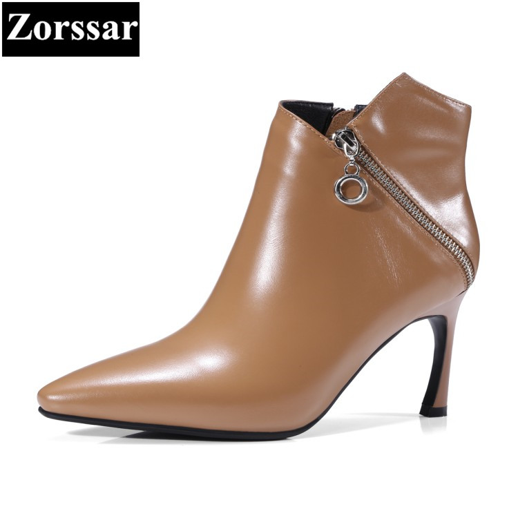 {Zorssar} 2018 Autumn fashion Solid Ladies shoes Genuine Leather thin heel Pointed toe Short boots High Heels women ankle boots цены онлайн