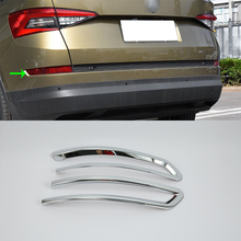 цена на OUBOLUN ABS chrome exterior car accessories rear foglilght cover high quality For 2017 SKODA KODIAQ
