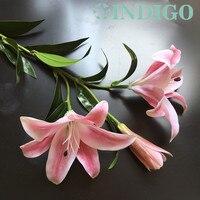 인디고 실크 + 라텍스 코팅 실제 터치 핑크 3D 백합 홈 인공 큰 꽃 백합 꽃 웨딩 파티 무료 배송