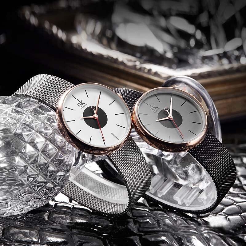 SK 2017 New Women's Bracelet Watches Clock Luxury Brand Quartz Wristwatches Fashion Stainless Steel Watchband Strap Watch Hours 3