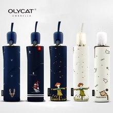 Olycat складной зонтик солнечный и дождливые автоматические зонты дождь женщины Anti UV ветрозащитный алюминия 8ribs 5 стиль в продаже