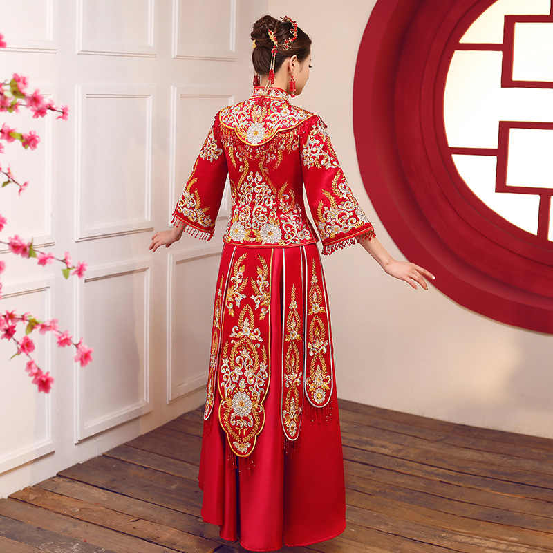 אדום מסורתי סיני סגנון הכלה שמלות כלה רקמת cheongsam שמלת robe המפלגה שמלת ערב להתחתן Qipao Vestido S-3XL