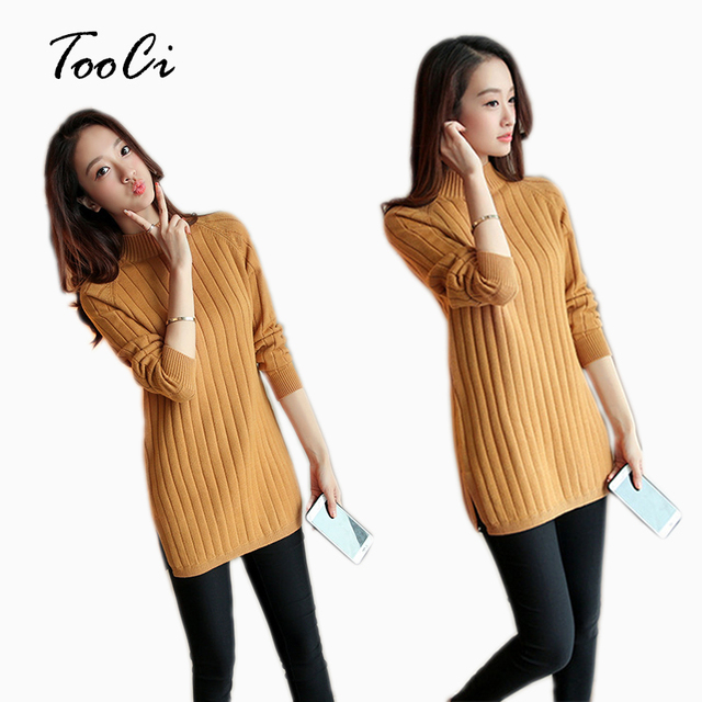 86b7bfa9478 2018 Lady Pullover Spring Autumn Winter Sweater And Pullover Warm Female  Khaki Round Collar Pullover Long Sleeved Knit Sweater