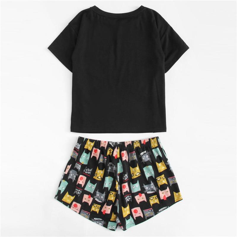 Cat Print Tee Shorts Pajama Set