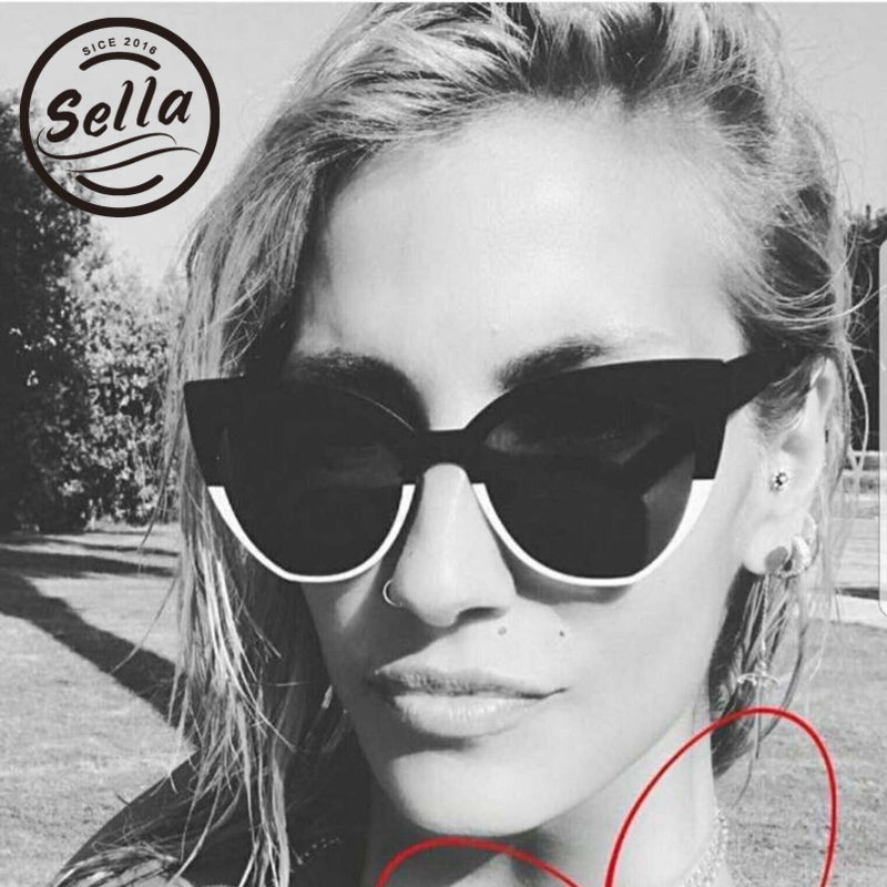 Sella Trending Fashion Hit Color Oversized Cateye Sunglasse Fashion Women Brand Designer Black White Alloy Frame Sun Glasses