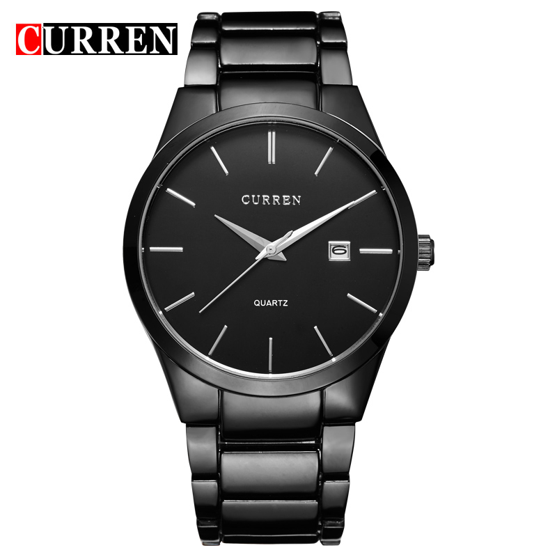 Luxury Brand Full Steel font b Men b font Watch Display Day Date Calendar Quartz Watch
