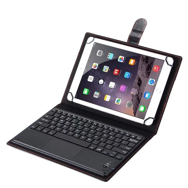 Universal 9 9.6 9.7 10 10.1 inch ios Android Windows Tablet PC Bluetooth Touchpad Keyboard With Leather Case Stand Cover