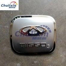 In acciaio inox tappo del serbatoio del carburante decorare le paillettes per 2014 2015 modelli di Chery Tiggo 3 tappo del serbatoio del carburante adesivi decorativi