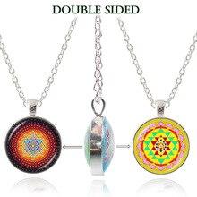 Sacred geometry mandala necklace om yoga madala pendant Sri Yantra amulet spiritual jewelry silver plated double face pendant