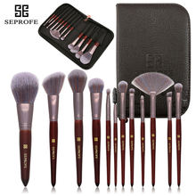 SEPROFE Makeup Brushes Set Powder Foundation Eyeshadow Make Up Brushes Cosmetics Soft Synthetic Hair With a fancy makeup bag fashion 24pcs pink soft nylon hair make up brushes with leather bag