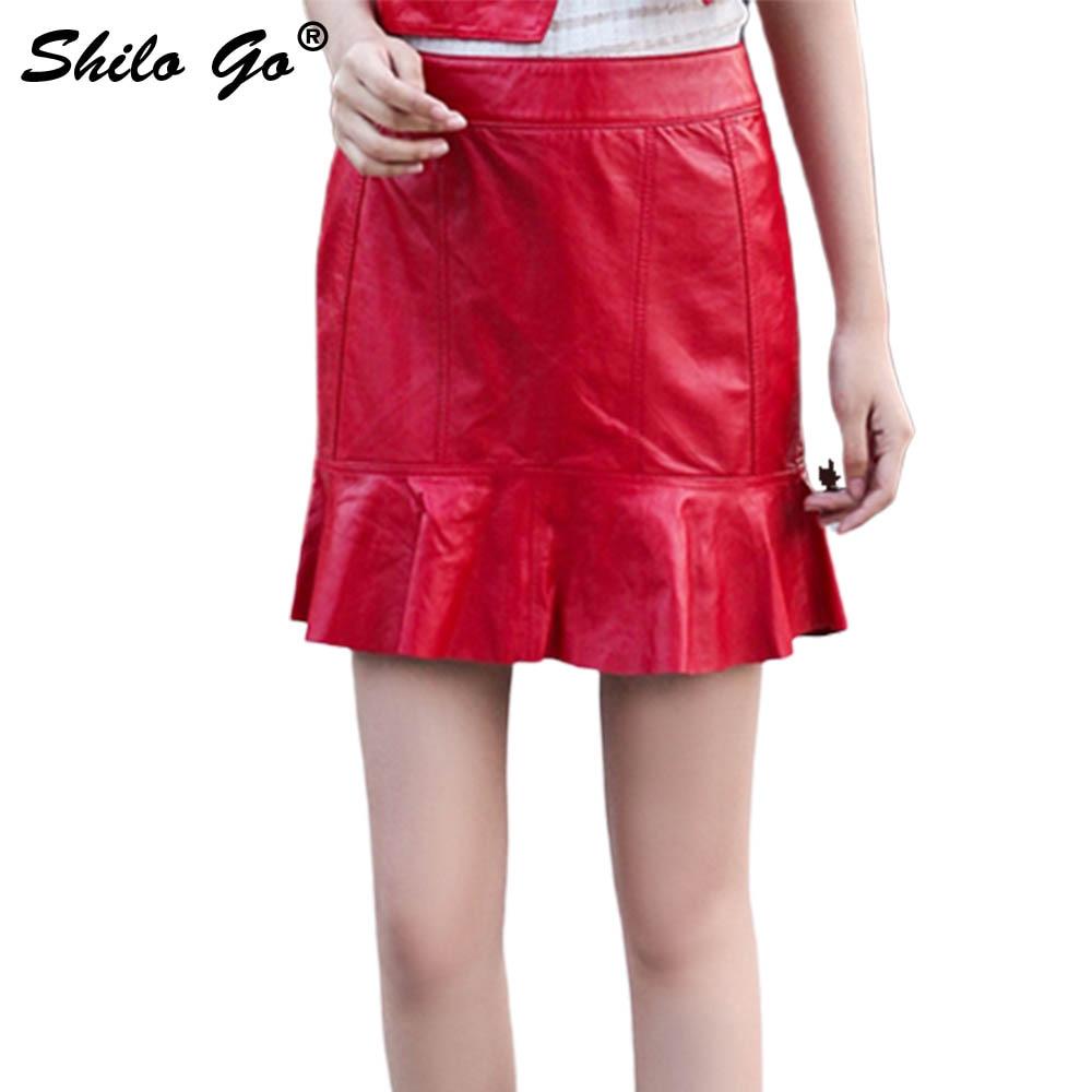 Mujer Alta Trompeta Genuino Moda Piel Cuero Oveja Colores Cintura Conciso 2 Faldas 4 De 1 Primavera Para Vintage 3 wqOCt4v
