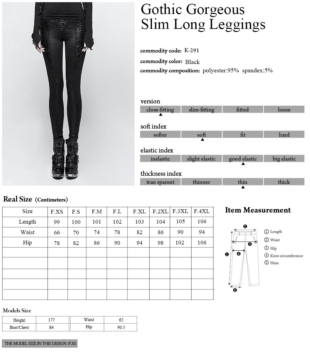 Pants leggings black with patterns baroque and lacing elegant ari Punk Rock Club Fashion Visual Kei K291 - 6